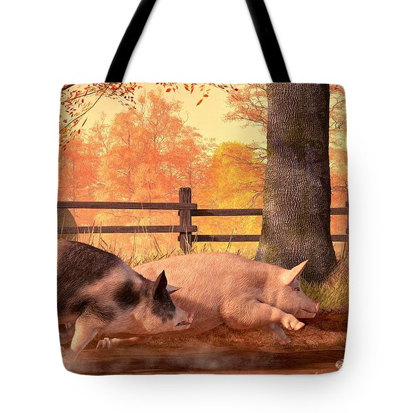 Pig Race Tote Bag by Daniel Eskridge