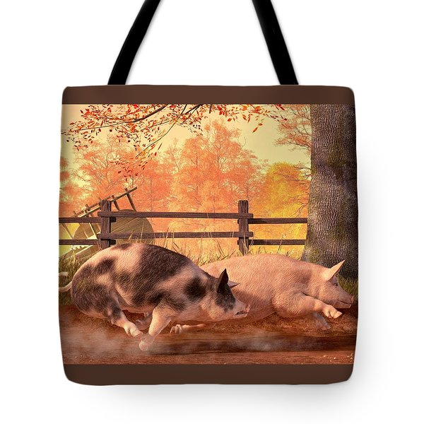 Pig Race Tote Bag