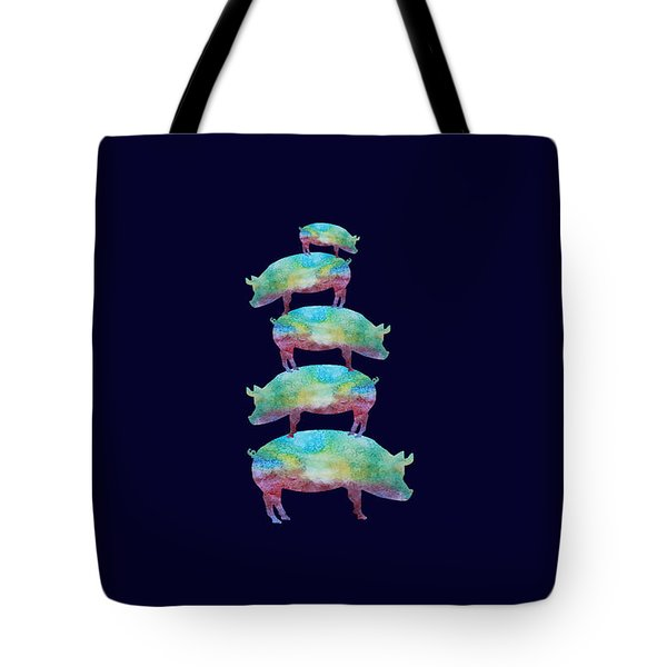 Pig Stack Tote Bag by Jenny Armitage