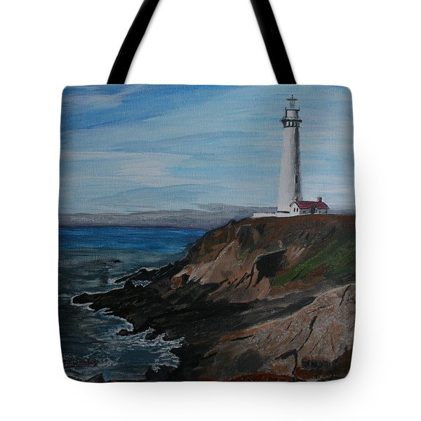 Tote Bag featuring the painting Pigeon Lighthouse Daytime Titrad by Ian Donley