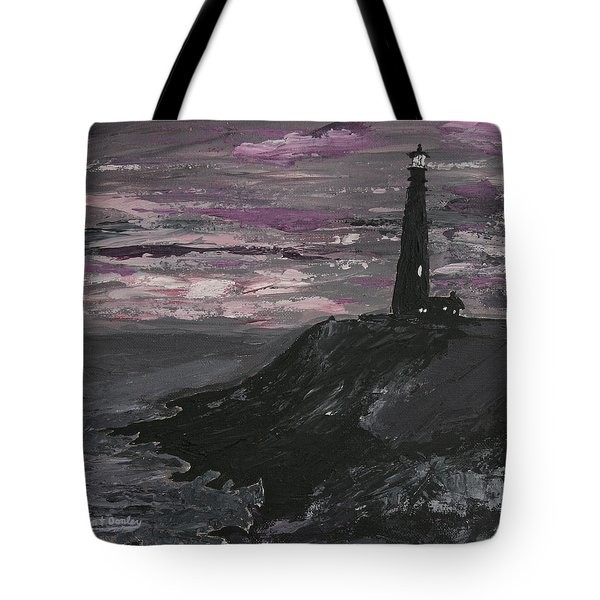 Pigeon Lighthouse Impasto Sunset Monochromatic Tote Bag by Ian Donley
