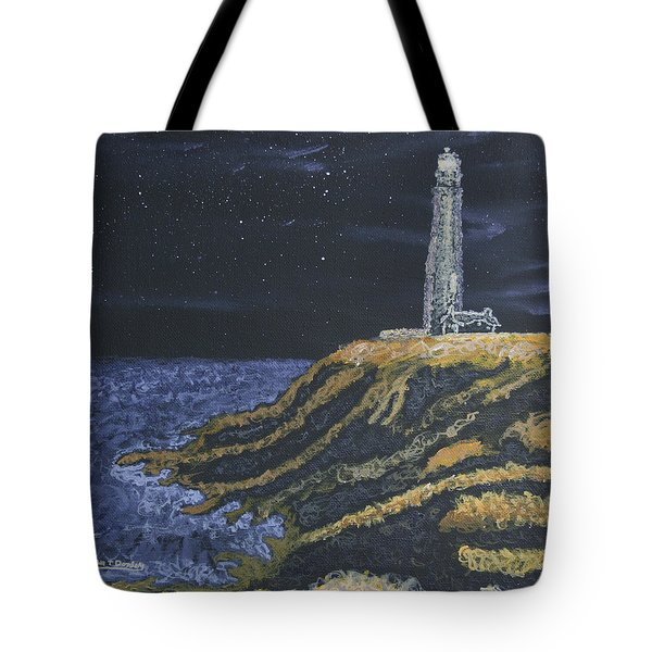 Tote Bag featuring the painting Pigeon Lighthouse Night Scumbling Complementary Colors by Ian Donley