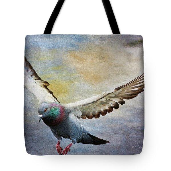 Pigeon On Wing Tote Bag by Deborah Benoit