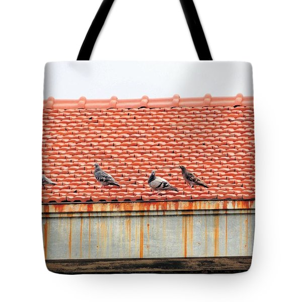 Tote Bag featuring the photograph Pigeons On Roof by Aaron Martens