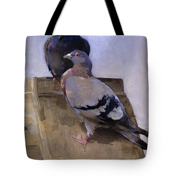 Pigeons On The Roof Tote Bag by Joseph Crawhall