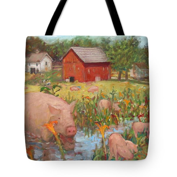 Pigs And Lilies Tote Bag