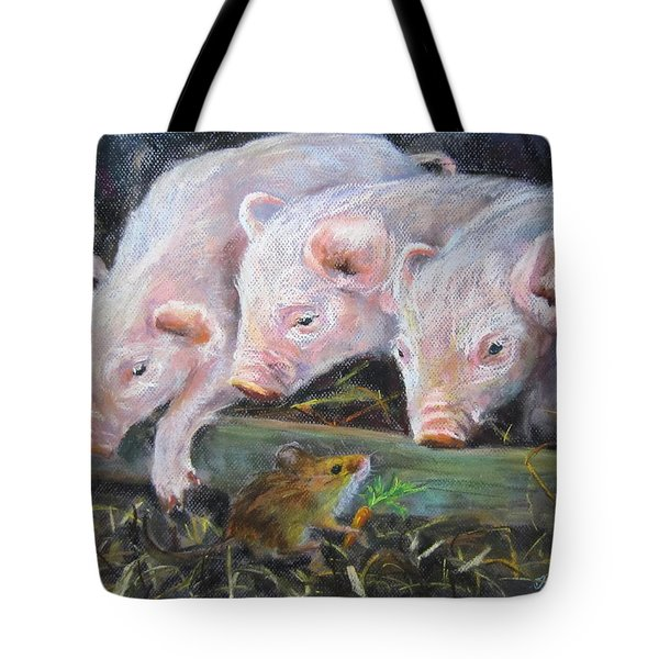 Pigs Vs Mouse Tote Bag