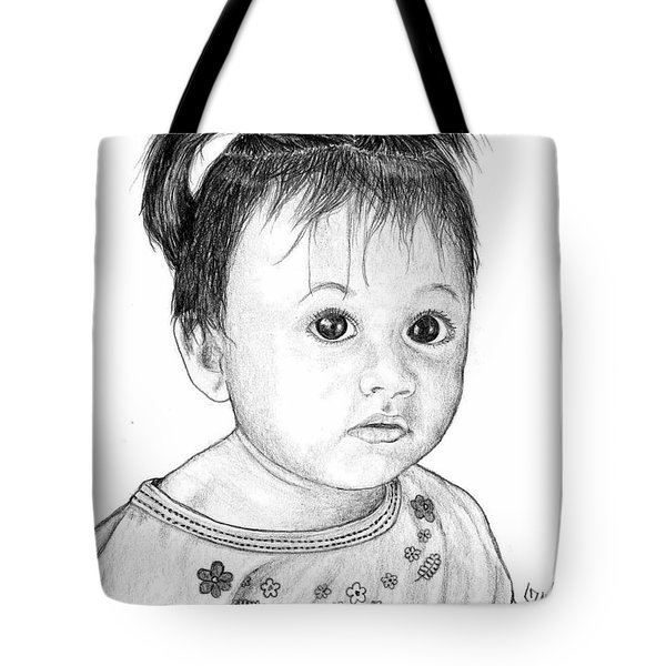 Tote Bag featuring the drawing Pigtails 2 by Lew Davis