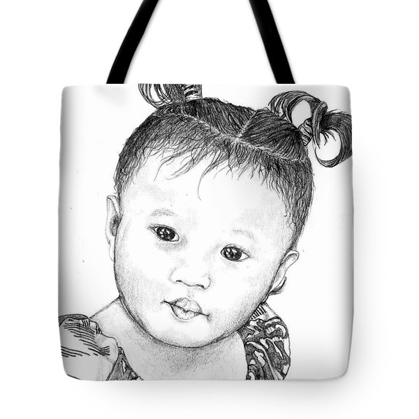 Tote Bag featuring the drawing Pigtails by Lew Davis