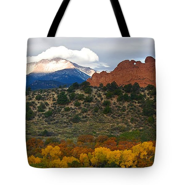 Tote Bag featuring the photograph Pikes Peak Fall Pano by Ronda Kimbrow