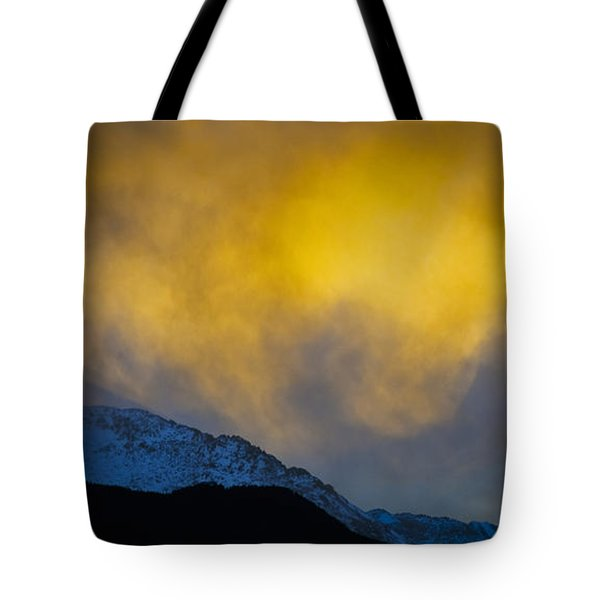 Pike's Peak Snow At Sunset Tote Bag