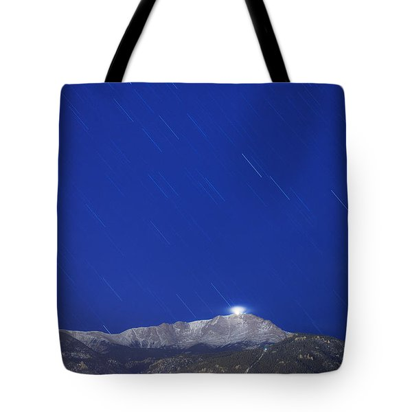 Pikes Peak Under The Stars Tote Bag by Darren  White