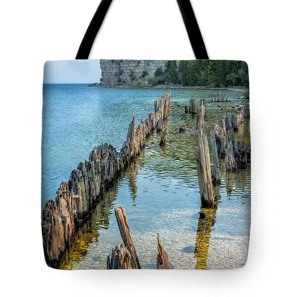 Pilings On Lake Michigan Tote Bag