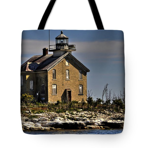 Tote Bag featuring the photograph Pilot Island Lighthouse by Deborah Klubertanz