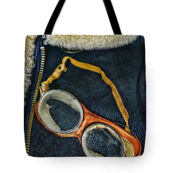 Pilot - Vintage Aviation Goggles Tote Bag by Paul Ward