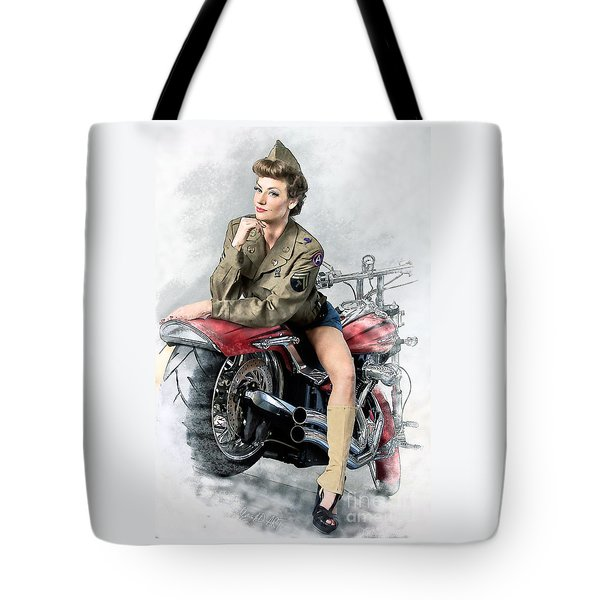 Pin-up Biker  Tote Bag