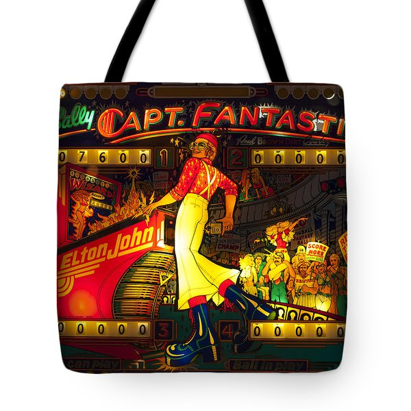 Pinball Machine Capt. Fantastic Tote Bag by Terry DeLuco