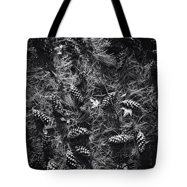 Pine Cones And Patterns - Monochrome Tote Bag