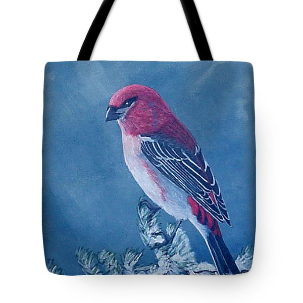 Pine Grosbeak Tote Bag