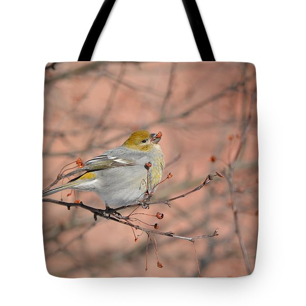 Tote Bag featuring the photograph Pine Grosbeak by James Petersen