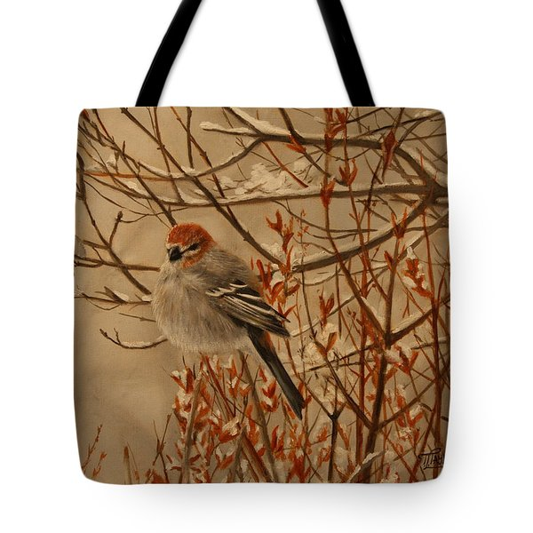 Tote Bag featuring the painting Pine Grosbeak by Tammy Taylor