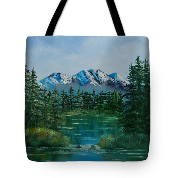 Tote Bag featuring the painting Pine Lake by Chris Fraser