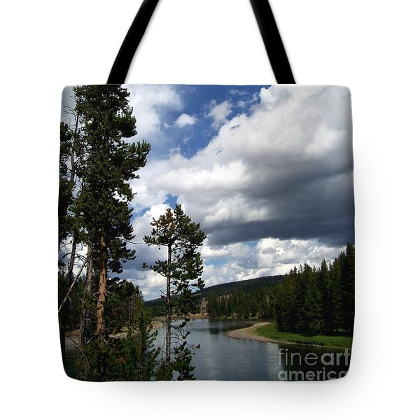 Tote Bag featuring the photograph Pine On The Yellowstone River by Charles Robinson