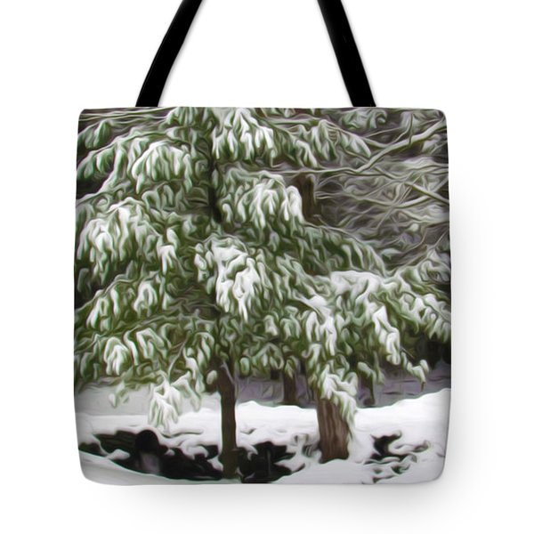 Pine Tree Covered With Snow 2 Tote Bag by Lanjee Chee