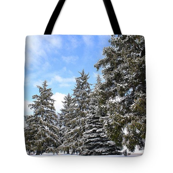 Pine Tree Haven Tote Bag by Frozen in Time Fine Art Photography