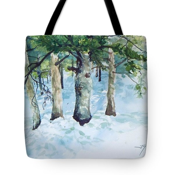 Pine Trees And Snow Tote Bag