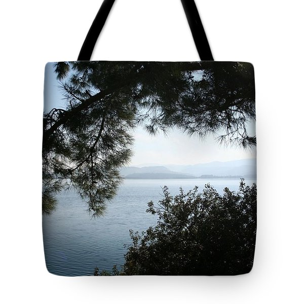 Tote Bag featuring the photograph Pine Trees Overhanging The Aegean Sea by Tracey Harrington-Simpson