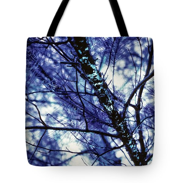 Tote Bag featuring the photograph Pine Trees Redux In Blue by Carol Whaley Addassi