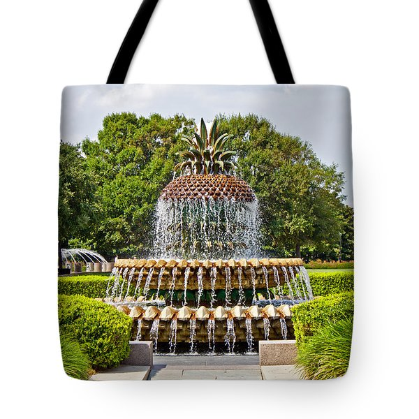 Pineapple Fountain In Waterfront Park Tote Bag by Jean Haynes
