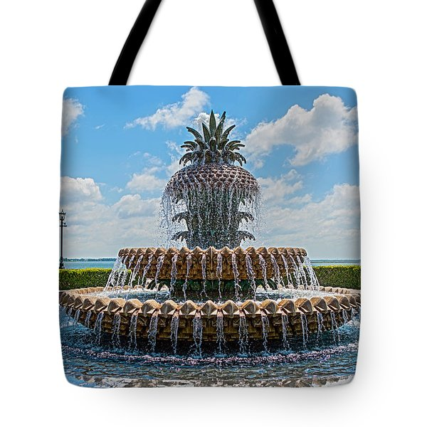 Tote Bag featuring the photograph Pineapple Fountain by Sennie Pierson
