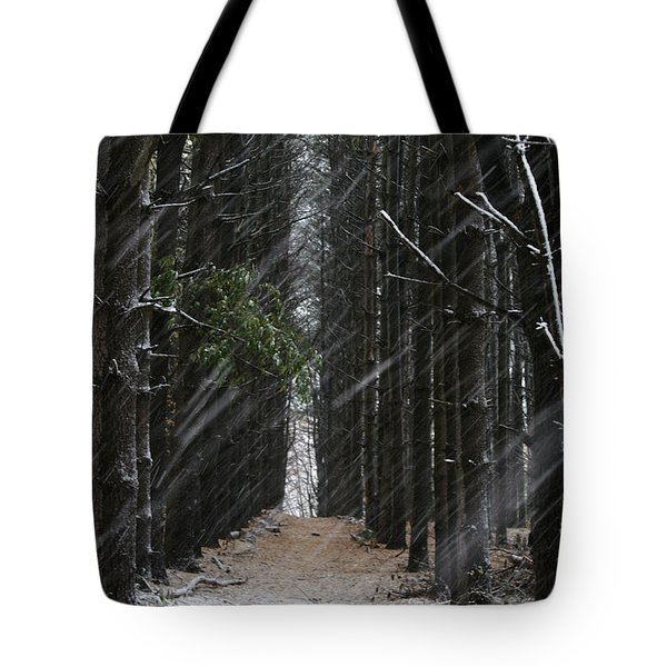 Pines In Snow Tote Bag