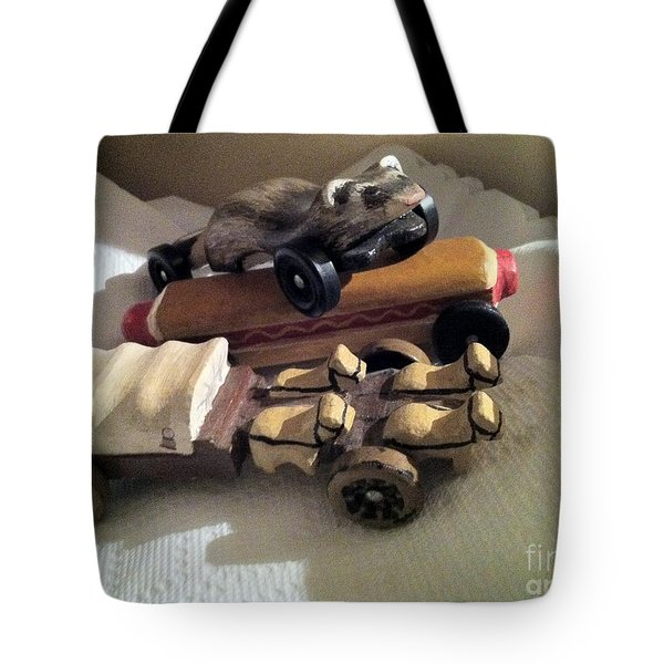 Pinewood Derby Art Tote Bag by Mary Ellen Anderson