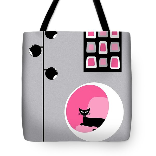 Tote Bag featuring the digital art Pink 1 On Gray by Donna Mibus