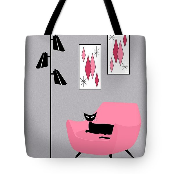 Tote Bag featuring the digital art Pink 2 On Gray by Donna Mibus