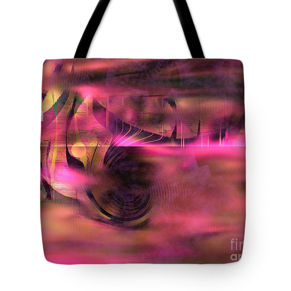 Tote Bag featuring the painting Pink Abstract Nature by Yul Olaivar