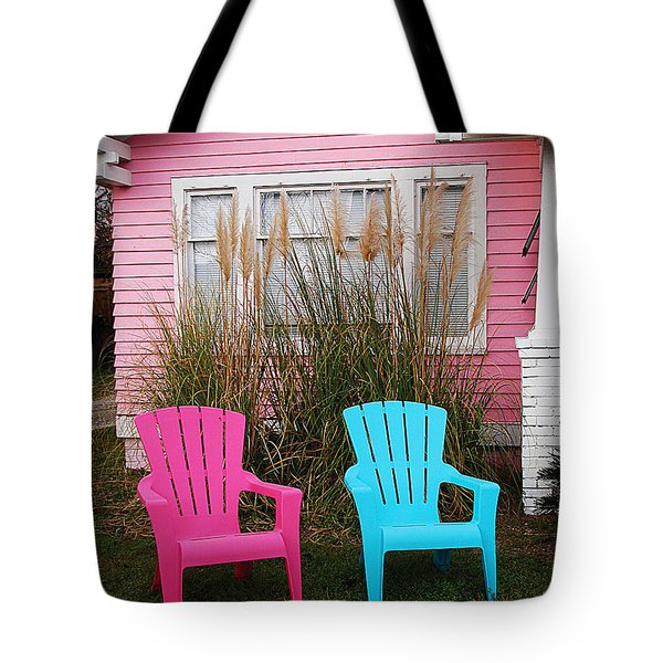 Pink And Blue Chairs By Jan Marvin Tote Bag