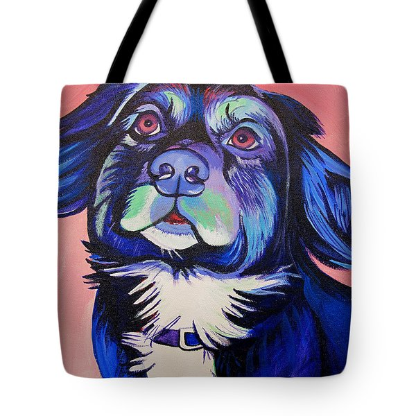 Tote Bag featuring the painting Pink And Blue Dog by Joshua Morton