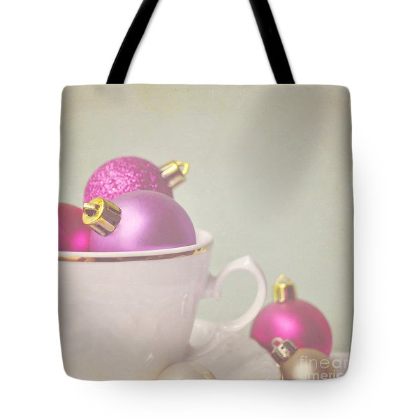 Pink And Gold Christmas Baubles In China Cup. Tote Bag by Lyn Randle