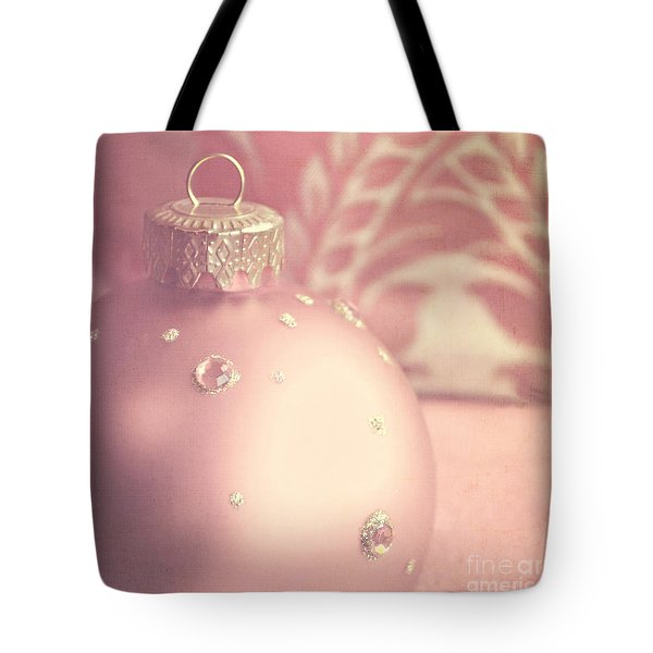 Pink And Gold Ornate Christmas Bauble Tote Bag by Lyn Randle
