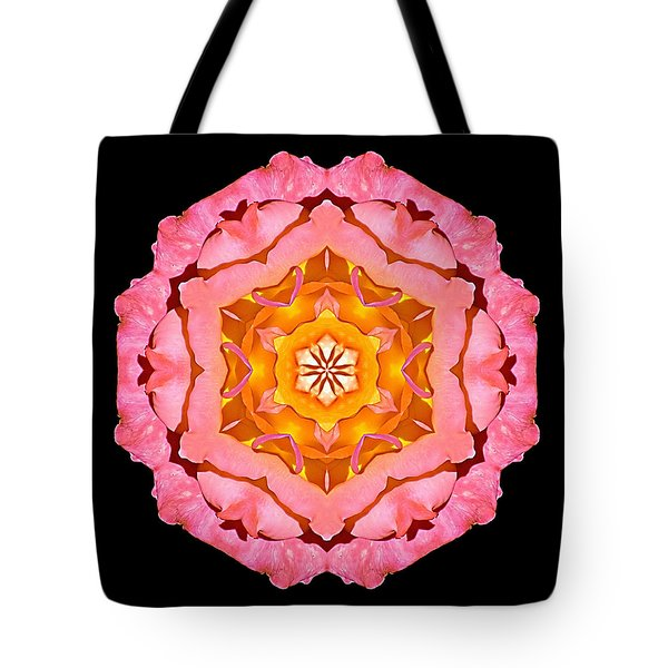 Tote Bag featuring the photograph Pink And Orange Rose I Flower Mandala by David J Bookbinder