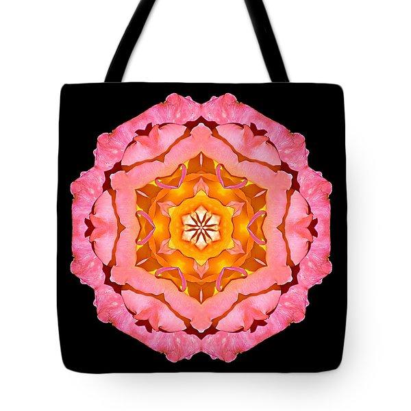 Pink And Orange Rose I Flower Mandala Tote Bag