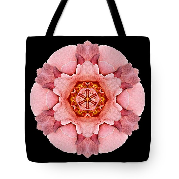 Tote Bag featuring the photograph Pink And Orange Rose Iv Flower Mandala by David J Bookbinder