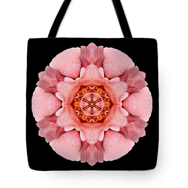 Pink And Orange Rose Iv Flower Mandala Tote Bag