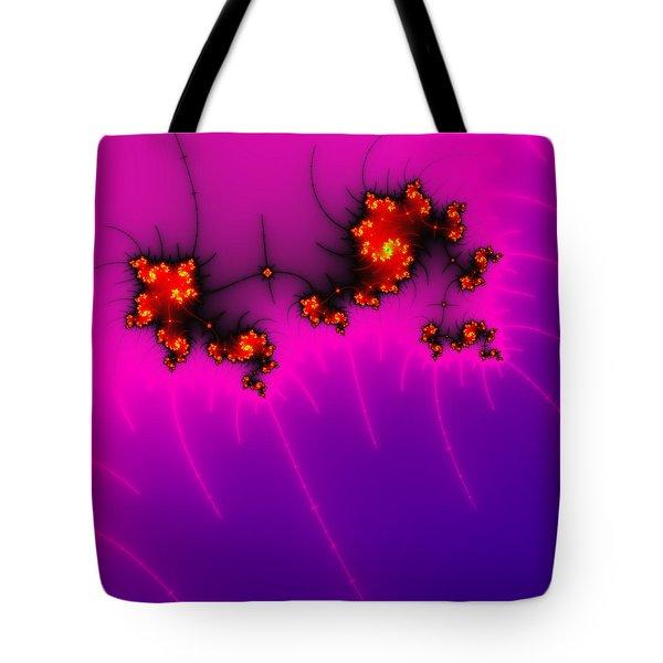 Pink And Purple Digital Fractal Artwork Tote Bag by Matthias Hauser