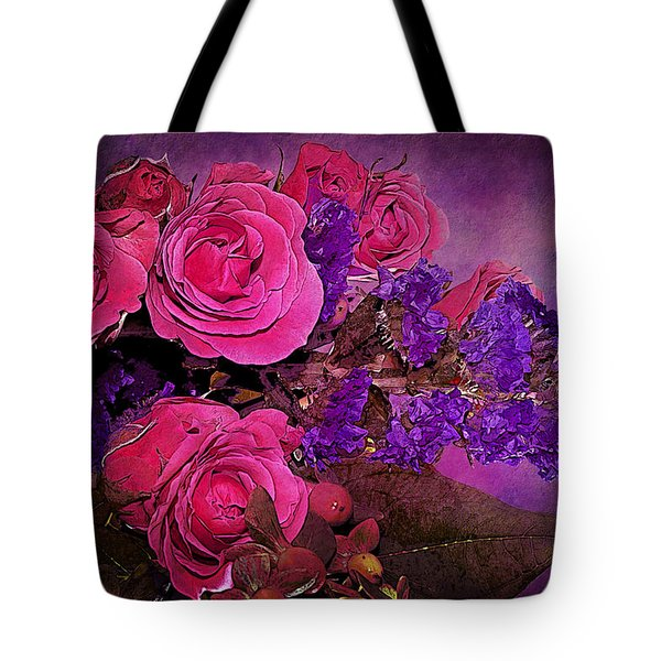 Pink And Purple Floral Bouquet Tote Bag by Phyllis Denton