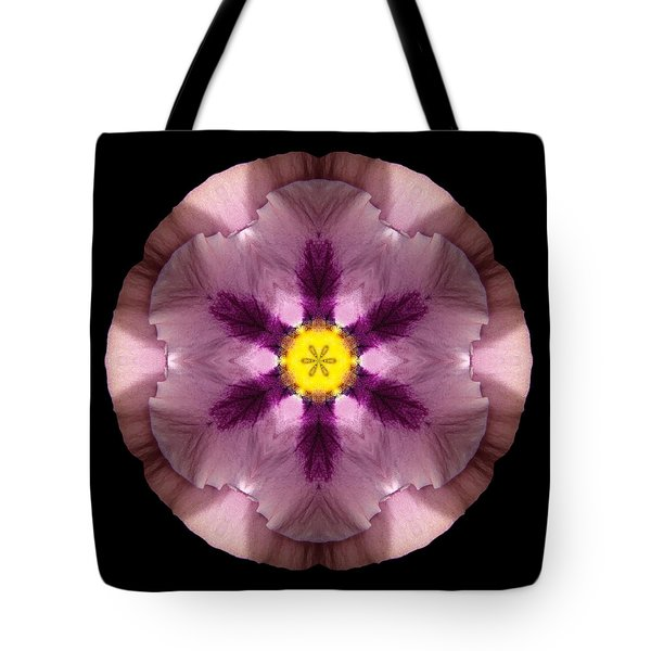 Pink And Purple Pansy Flower Mandala Tote Bag